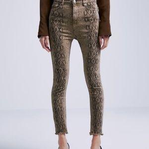 Zara high waist skinny faded out snake print jeans